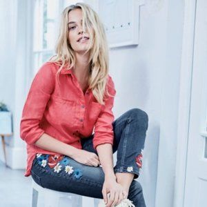 Boden Cavendish Girlfriend Floral Embroidery Jeans